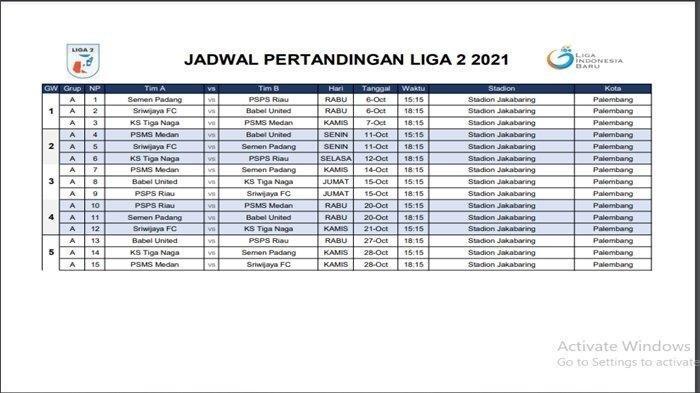 Jadwal lengkap laga perdana Liga 2 Indonesia Grup A, Sriwijaya FC vs MBU, Semen Padang vs PSMS Medan