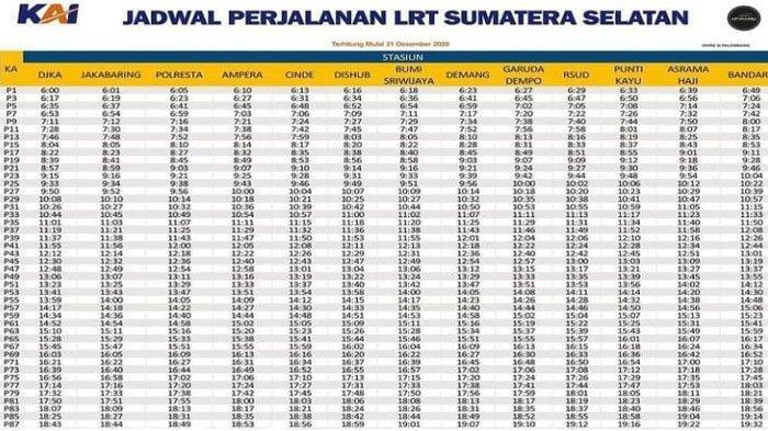 Jadwal keberangkatan LRT Palembang dari stasiun DJKA