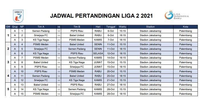 Jadwal Lengkap Sriwijaya FC dan Muba Babel United di Grup A Liga 2 2021