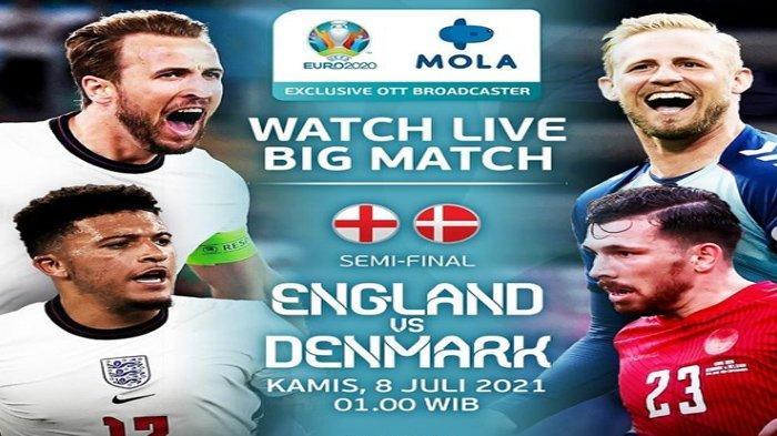 Cara Nonton Pertandingan Inggris vs Denmark Malam ini, Tonton via Live Streaming Mola TV