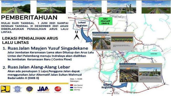 Ini Jalan Alternatif Antisipasi Macet Jalintim Dampak Penutupan Jembatan Keramasan Palembang