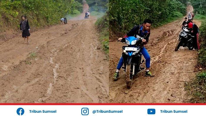 Banyak Siswa Terjatuh dari Motor, Akses Jalan ke SMKN 1 Tanah Abang PALI Becek dan Licin