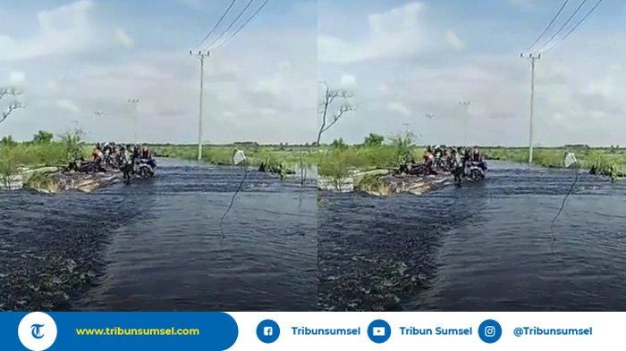 Jalan Raya Sepucuk Kayuagung-Pedamaran Timur Digenangi Air