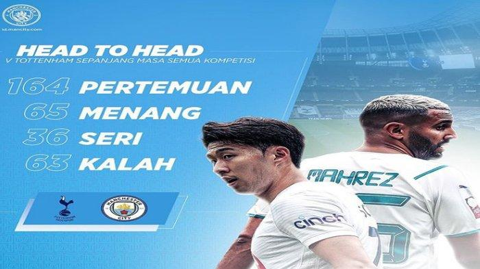 Rekor Pertemuan Head to Head Manchester City Vs Tottenham Hotspur, Jadwal Liga Inggris Malam Ini