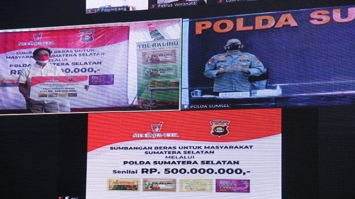 Kapolda Sumsel Terima Bantuan Beras Senilai Rp 500 juta untuk Dibagikan ke Warga Terdampak Covid-19