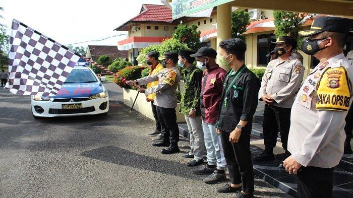 Kapolres OI Pimpin Pelepasan 233 Paket Bansos Untuk Masyarakat Terdampak Covid-19