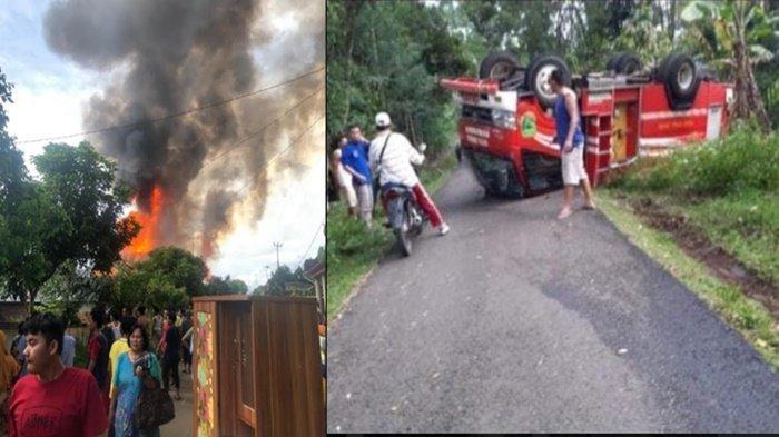 BREAKING NEWS: Kebakaran di Lintang Kanan Empat Lawang, Mobil Damkar Kecelakaan Saat di Perjalanan
