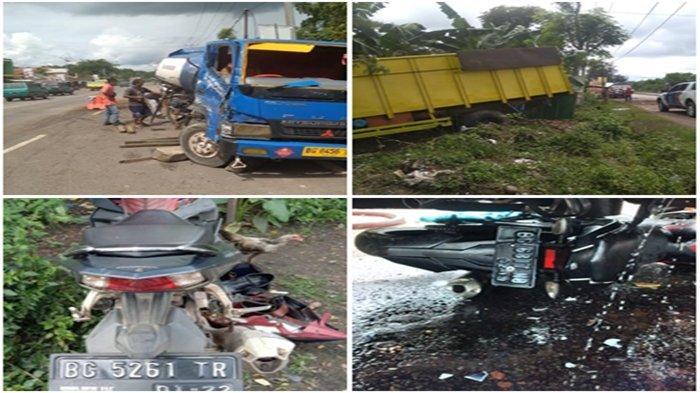 Kecelakaan Maut Siang Tadi, 2 Truk dan 2 Sepeda Motor Saling Bertabrakan, Korban Patah Kaki