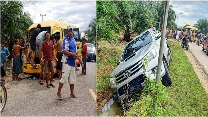 Kecelakaan di Jalinsum Muratara Simpang SMAN 5 Karang Jaya,Minibus Ringsek Depan, Strada Masuk Parit