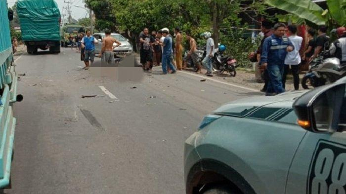 Kecelakaan di Jalintim OKI, Truk Fuso vs Motor, Warga Pedamaran Meninggal Dunia