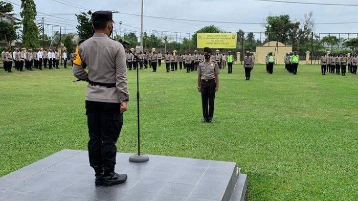 Kapolres Ogan Ilir Pimpin Upacara Kenaikan Pangkat Kasat Sabhara Kompol Makmun Arrasyid