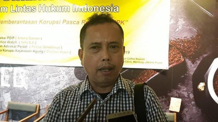 Ketua Presidium Indonesia Police Watch (IPW) Neta S Pane saat diskusi Prospek Pemberantasan Korupsi Pasca Revisi UU KPK di kawasan Cikini, Jakarta Pusat, Rabu (11/12/2019).