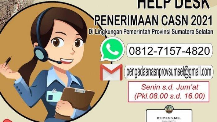 Daftar Kontak Layanan Informasi dan Pengaduan Terkait Pelaksanaan Seleksi CASN Pemprov Sumsel