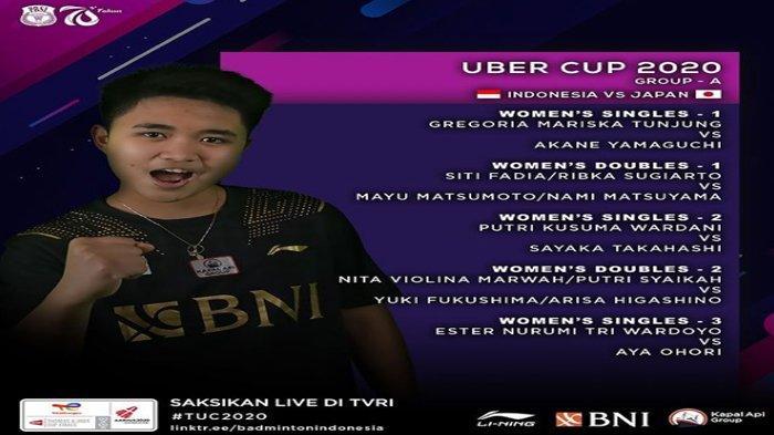 Line Up Susunan Pemain Tim Uber Indonesia vs Jepang, Rahayu/Polii Absen