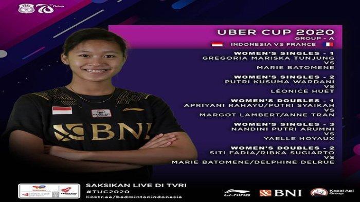 Line Up Susunan Pemain Piala Uber Indonesia vs Prancis, Greysia Polii Absen, Ini Pasangan Apriyani