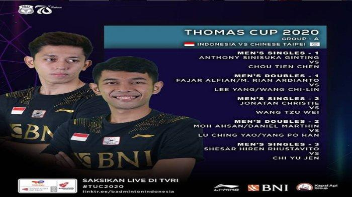 Line Up Tim Indonesia vs Taiwan Penyisihan Grup A Thomas Cup, Minion dan Hendra Setiawan Absen