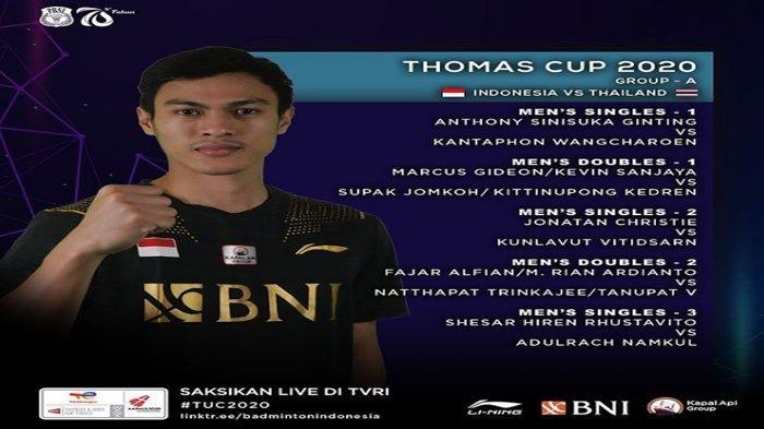 Susunan Pemain Line Up Tim Indonesia vs Thailand, Thomas Cup 2020, Turunkan Skuad Terbaik