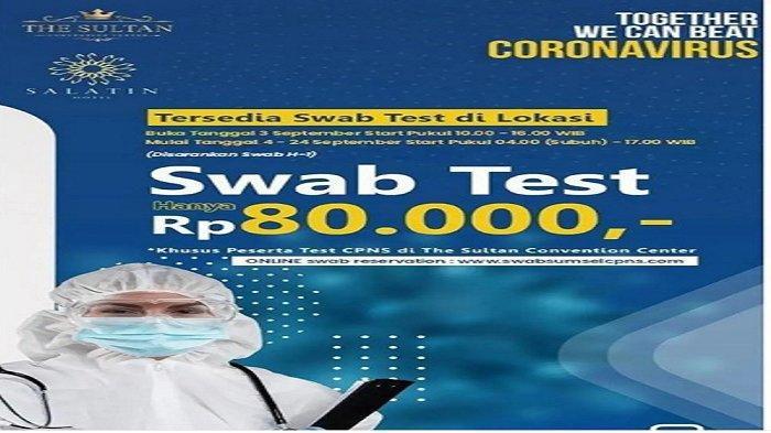 Link dan Cara Daftar Swab Antigen Peserta SKD CPNS di The Sultan Convention Center Palembang