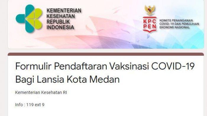 Ini Link Pendaftaran Online Vaksinasi Covid-19 Lansia di Medan, Padang, Pekanbaru, Aceh