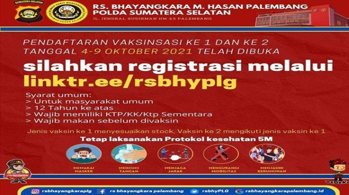 Infi Vaksin Palembang Oktober 2021, Cara Daftar Vaksinasi di RS Bhayangkara Palembang 4-9 Oktober