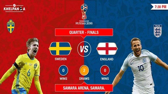 Prediksi dan Siaran Langsung Swedia vs Inggris Perempat Final Piala Dunia 2018 Live Trans TV