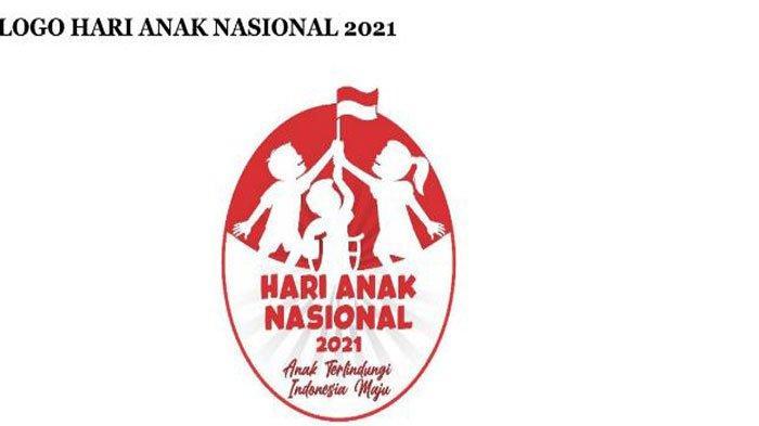 Logo Hari Anak Nasional 2021 adalah tiga orang anak memegang bendera merah putih