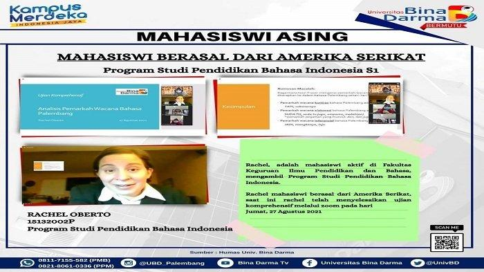Rachel Oberto, Mahasiswa Bina Darma Asal Amerika Serikat Tuntaskan S1 Pendidikan Bahasa Indonesia
