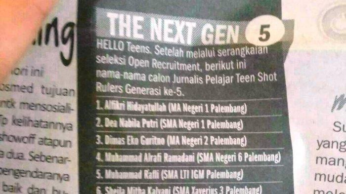 Wakil Ketua Tim Media Center MAN 1 Palembang Lulus Seleksi Jurnalis Pelajar Tribun Sumsel