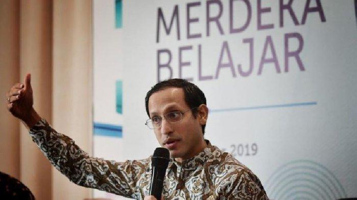 Mendikbud Nadim Makarim menjelaskan kebijakan pendidikan Merdeka Belajr dalam Rapat Koordinasi Mendikbud dengan Kepala Dinas Pendidikan se-Indonesia di Jakarta, Rabu (11/12/2019).