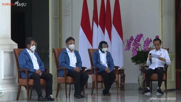 Menteri baru Kabinet Indonesia Maju memakai jaket biru saat dikenalkan kepada masyarakat, Selasa (22/12/2020).
