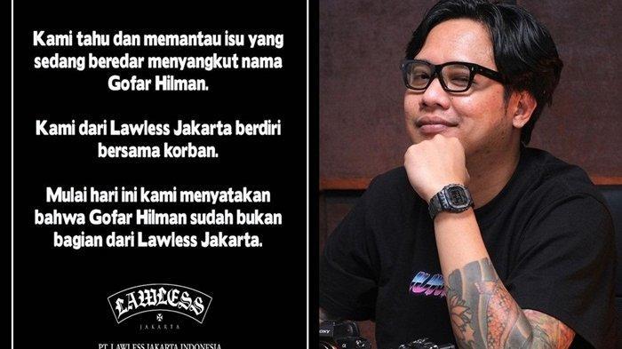 Buntut Gofar Hilman Diduga Terjerat Kasus Pelecehan Seksual, Lawless Jakarta Pecat Sang Presenter