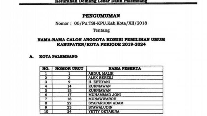 Daftar 10 Besar Calon Komisioner KPU Kabupaten/Kota di Sumsel, Ini Tahapan Selanjutnya