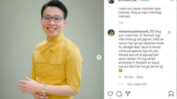 Selain Kartika Putri, Dewi Perssik dan Nikita Mirzani Ikut Nyinyir Dr Richard Lee, Instagram Diserbu