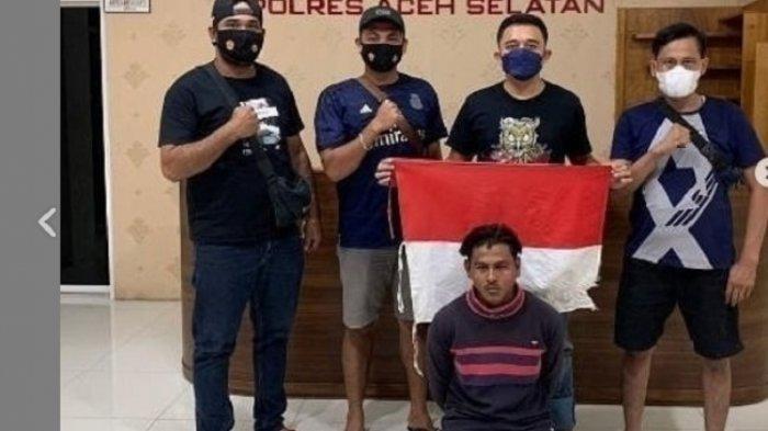 Wajah Pria yang Hina Polisi dan Akan Injak Bendera Merah Putih Babak Belur, Ditangkap Satreskrim
