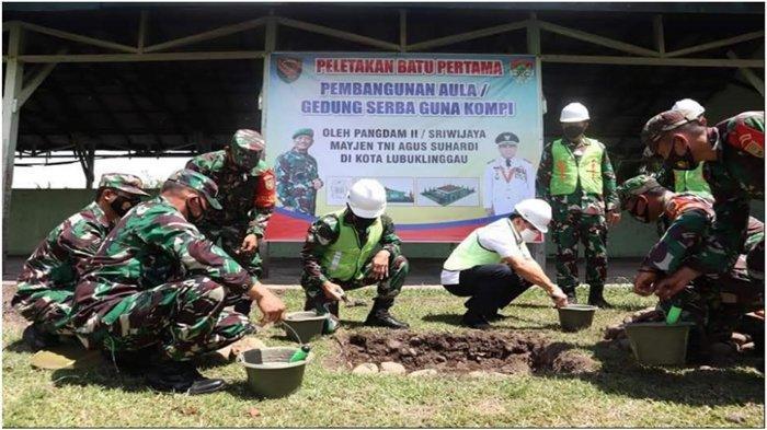 Panglima Kodam II Sriwijaya Letakkan Batu Pertama Pembangunan Gedung Serbaguna Kompi Lubuklinggau