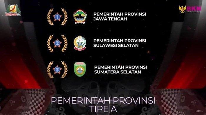 Pemprov Sumsel Torehkan Prestasi Sabet Penghargaan BKN Award Tahun 2021