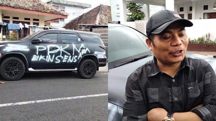 Mobil Fortuner yang dicorat-coret pemiliknya karena PPKM Darurat.