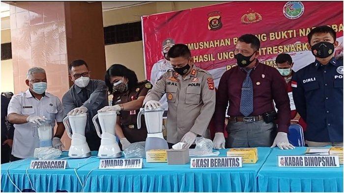 3,1 Kg Sabu Larut Dicampur Deterjen, Polda Sumsel Musnahkan BB Ungkap Kasus September-Oktober