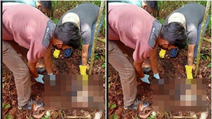 Petugas Polres Prabumulih saat mengevakuasi tengkorak yang ditemukan tertimbun di dalam tanah lengkap mengenakan baju bertuliskan Belitong.