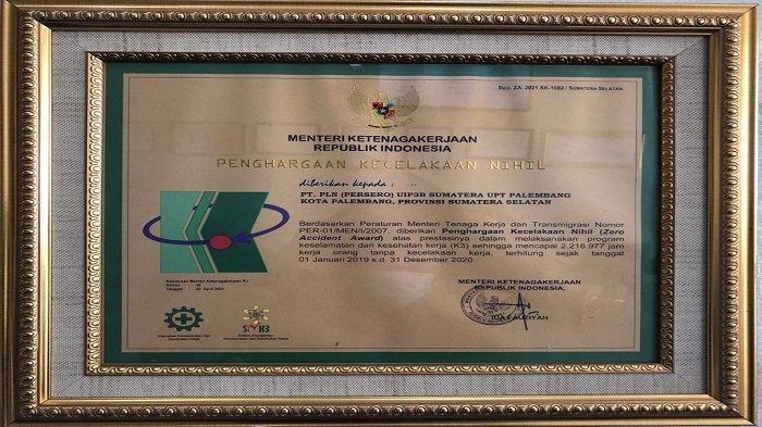Peduli K3, PLN UPT  Palembang Raih Prestasi Kecelakaan Nihil