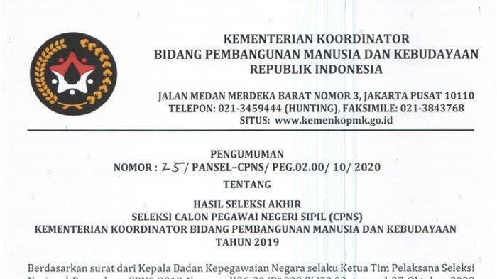 Download Di Sini, Pengumuman Hasil Akhir Seleksi CPNS 2019 Kemenko PMK