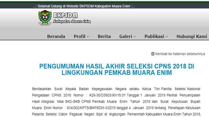 Pengumuman Hasil Akhir Seleksi CPNS 2018 Kabupaten Muara Enim, Download PDF di Sini