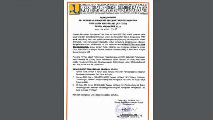 Pengumuman : Program Percepatan Peningkatan Tata Guna Air irigasi (P3-TGAI) Tahun Anggaran 2021