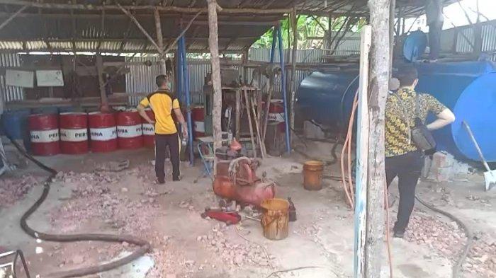 Ribuan Liter Minyak Ilegal Disembunyikan di Bangsal Batu Bata, Dibongkar Polres Prabumulih