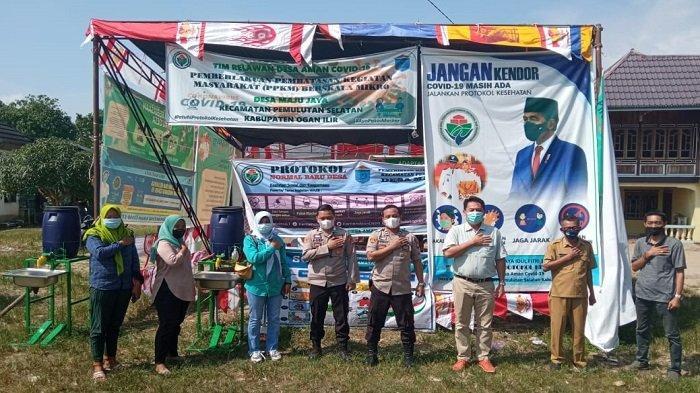 Polsek Pemulutan Monitoring dan Cek Posko PPKM di Desa-desa