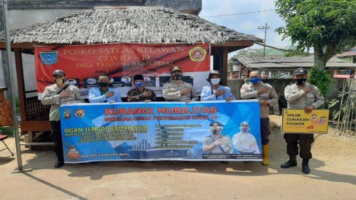 Kapolsek Tanjung Batu Tinjau Posko Satgas Relawan Covid-19 di Desa Tanjung Baru Petai