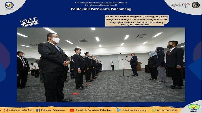 Poltekpar Palembang Gelar Pelantikan Pejabat Fungsional dan Penanggung Jawab Pengelola Keuangan
