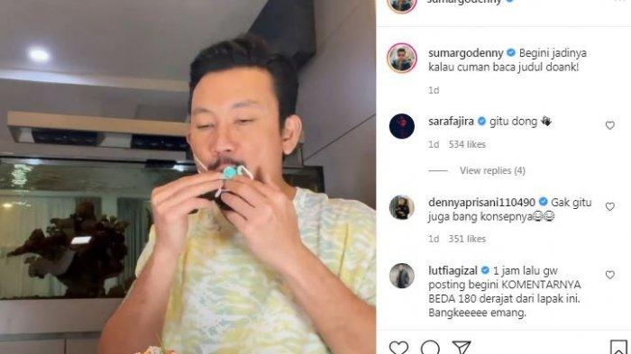 Postingan Denny Sumargo singgung aturan dilarang turunkan masker saat makan