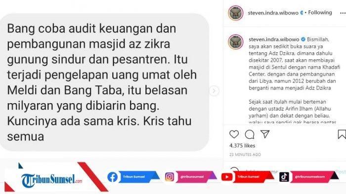 Postingan Steven Indra Wibowo terkait penggelapan dana belasan miliar pembangunan masjid Az Zikra (Instagram/steven.indra.wibowo)