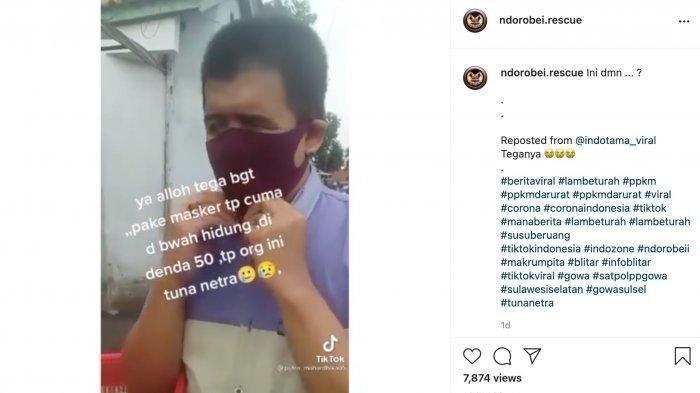Hoaks Pria Tunanetra Didenda karena Masker Melorot, Pengunggah Minta Maaf, Ini Fakta Sebenarnya